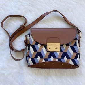 Spartina 449 Geometric Crossbody Bag Brown Blue